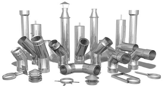 Трубы и конструктивные детали для сборки стальных оцинкованных дымоходов
