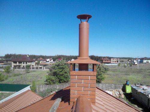 Стальной дымоход на кирпичной основе