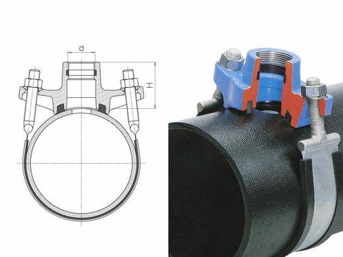Хомут для врезки в пластиковую трубу со схемой поперечного сечения