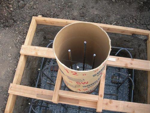 Монтаж опалубки из картонных труб