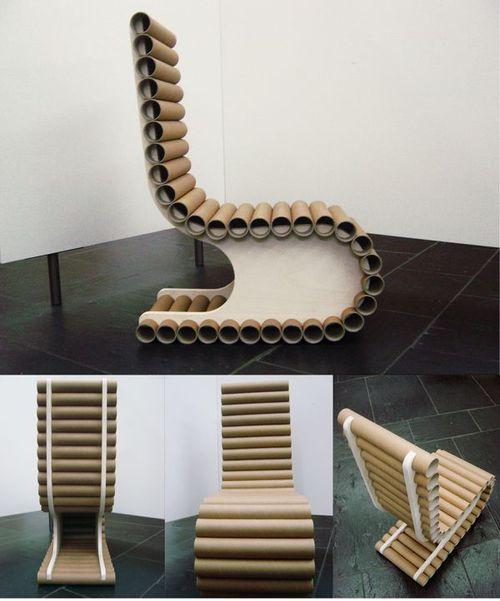 Стул из картонных труб