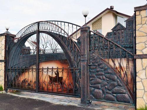 Кованые ворота из гнутых труб